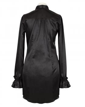 Long Bluse Satin, schwarz