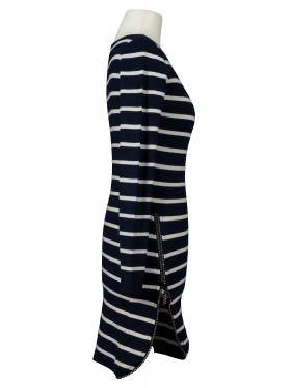 Long Pullover Streifen, blau weiss