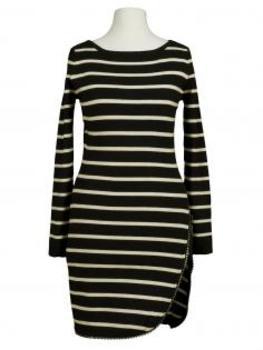 Long Pullover Streifen, schwarz ecru von Miss Kiss von Miss Kiss