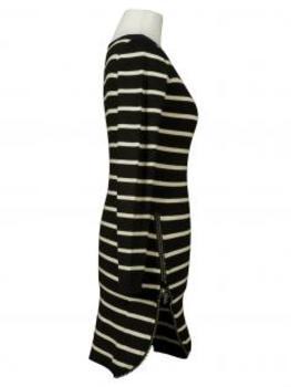 Long Pullover Streifen, schwarz ecru (Bild 2)