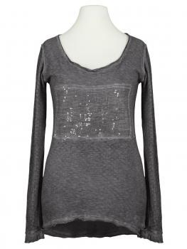 Long Shirt mit Pailletten, grau (Bild 1)