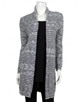 Damen Long Strickjacke, grau meliert