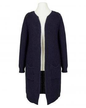 Long Strickjacke Grobstrick, blau