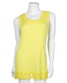 Shirt mit Spitze, gelb