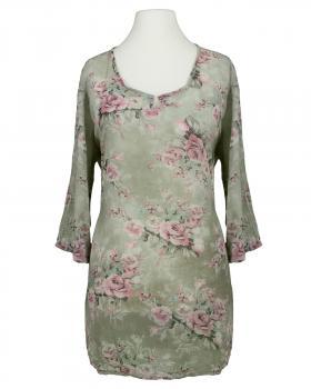 Longbluse Blütenprint, khaki