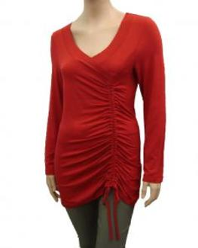 Longshirt mit Raffung, rot