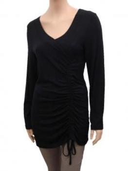 Longshirt mit Raffung, schwarz