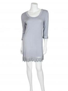 Damen Longshirt mit Spitze, grau
