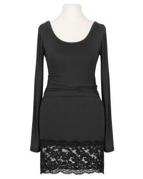 Longshirt mit Spitze, schwarz