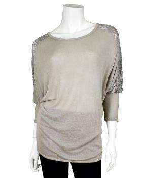 Longshirt mit Spitze, taupe