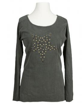 Longsleeve Shirt mit Stern, oliv von Spaziodonna (Bild 1)