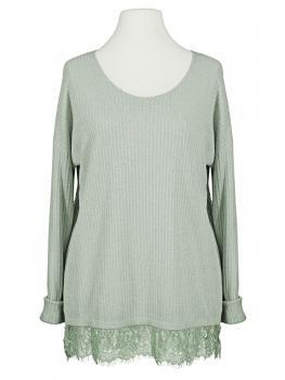 Lurex Shirt mit Spitze, lindgrün