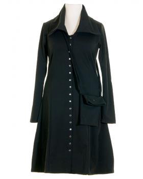 Jerseykleid Mantel mit Tasche, schwarz (Bild 1)