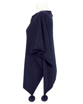 Poncho mit Cashmere, dunkelblau