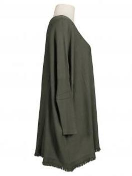 Damen Pullover Fransen, oliv