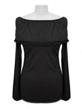 Pullover mit Bommeln, schwarz