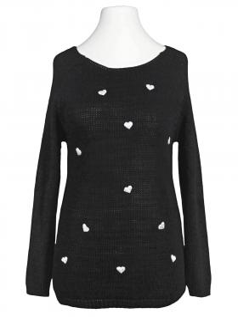 Pullover mit Herzen, schwarz