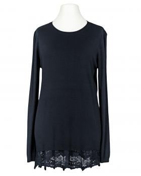 Pullover mit Spitze, blau von Spaziodonna