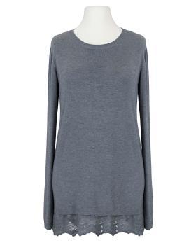Pullover mit Spitze, grau von Spaziodonna