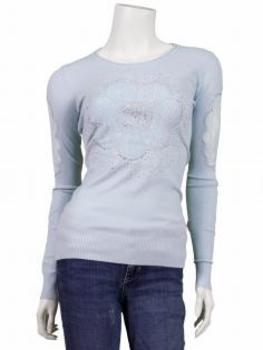 Pullover mit Spitze, hellblau