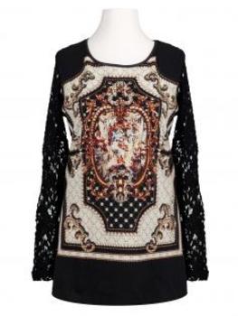 Pullover mit Spitze, schwarz von Exquiss's Paris