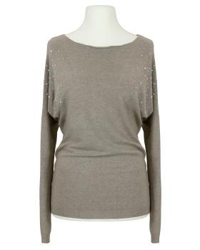 Pullover mit Strass, braun von Made in Italy
