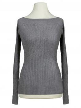 Pullover mit Zopfmuster, grau