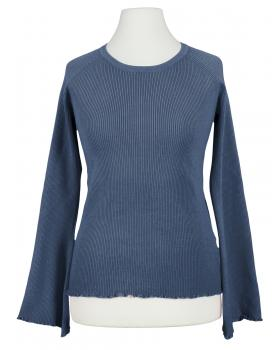 Pullover Rippstrick, jeansblau
