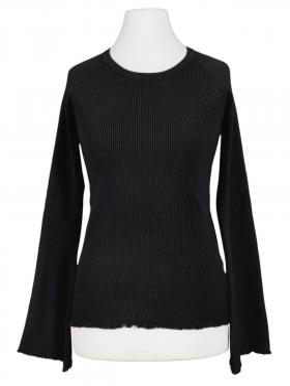 Pullover Rüschen, schwarz