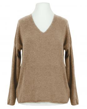 Pullover V-Ausschnitt, camel von Italia Moda