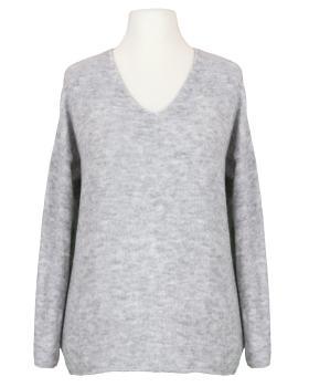 Pullover V-Ausschnitt, grau von Italia Moda
