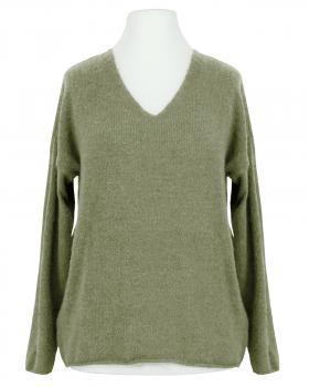 Pullover V-Ausschnitt, khaki von Italia Moda