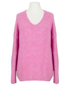 Pullover V-Ausschnitt, pink von Italia Moda