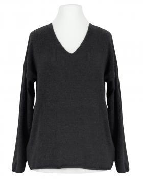 Pullover V-Ausschnitt, schwarz von Italia Moda