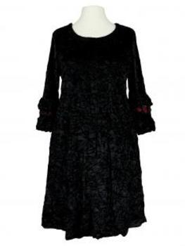 Samtkleid mit Volant, schwarz