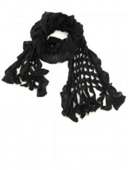 Schal mit Ajourmuster, schwarz