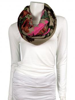 Schlauchschal Blütenprint, beige von fashion made in italy