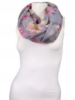 Schlauchschal geblümt, grau von fashion made in italy