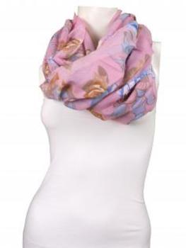 Schlauchschal geblümt, rosa von fashion made in italy
