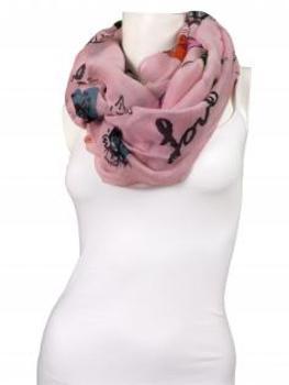 Schlauchschal mit Print, rosa