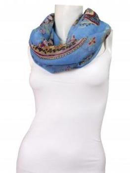 Schlauchtuch mit Paisleymuster, türkisblau (Bild 1)