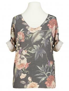 Shirt mit Blumenmuster, grau
