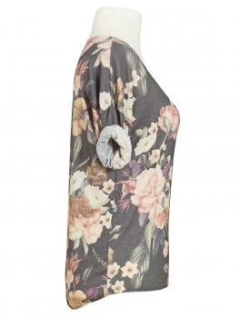 Shirt mit Blumenmuster, grau (Bild 2)
