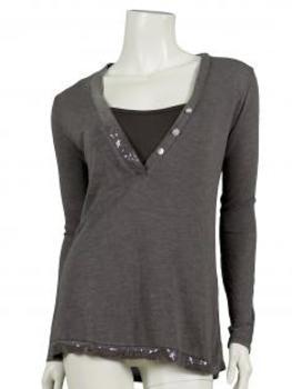 Shirt mit Pailletten 2-tlg., braun von Diana