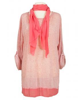 Shirt mit Schal, koralle