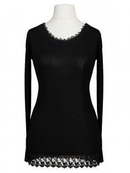 Shirt mit Spitze, schwarz