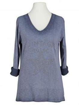 Shirt Print langarm, blau (Bild 1)