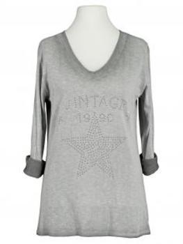 Shirt Print langarm, grau