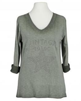 Shirt Print langarm, khaki (Bild 1)