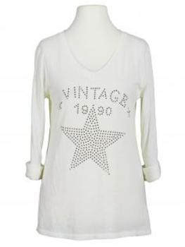 Shirt Print langarm, milchweiss (Bild 1)